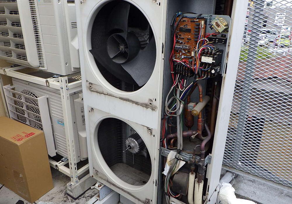 岡崎市某所 エアコン室外機ファンモーター取替工事